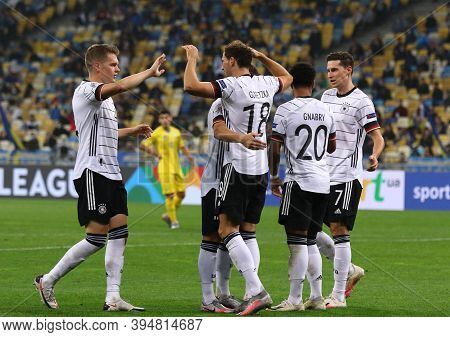 Kyiv, Ukraine - October 10, 2020: German Players Celebrate Afte Scored A Goal During The Uefa Nation
