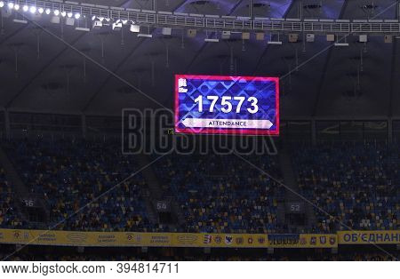 Kyiv, Ukraine - Oct 10, 2020: Screenboard Of Olympic Stadium With Number Of Spectators Of Uefa Natio