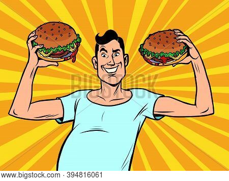 Skinny Weak Man With Burgers. Comics Illustration Drawing