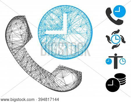Vector Wire Frame Phone Time. Geometric Wire Frame Flat Network Based On Phone Time Icon, Designed F