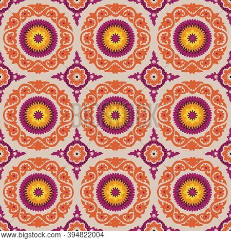 Allover Medallion Ethnic Design.orange, Burgundy, Yellow, Ecru.