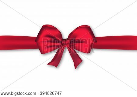Realistic Decorative Red Satin Bow With Horizontal Ribbon. Christmas Satin Wrap Element Template For