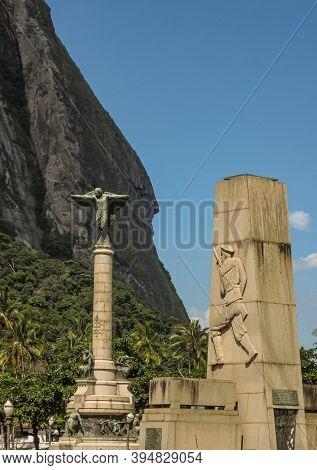 Rio De Janeiro Brazil - December 24, 2008: War Memorial Monuments At Pao De Acucar Lands End Under S
