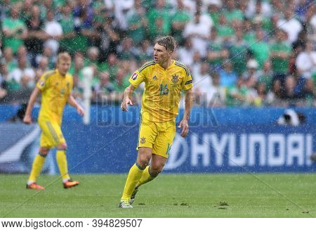 Lyon, France - June 16, 2016: Serhiy Sydorchuk Of Ukraine Runs During Uefa Euro 2016 Game Against No