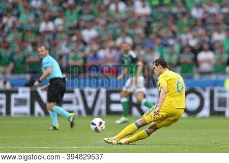 Lyon, France - June 16, 2016: Taras Stepanenko Of Ukraine Kicks A Ball During The Uefa Euro 2016 Gam