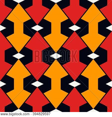 Geometric Seamless Pattern. African Print. Arrows, Pointers, Cursors Ornament. Ethnic, Tribal Backgr