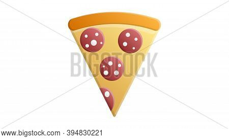 Slice Of Pizza On Dough With A Thick Board, On A White Background, Vector Illustration. Pizza With R