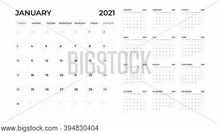 Calendar 2021, 12 Month In Clean Minimal Table Simple Style. Calendar 2021 Template. Calendar Planni
