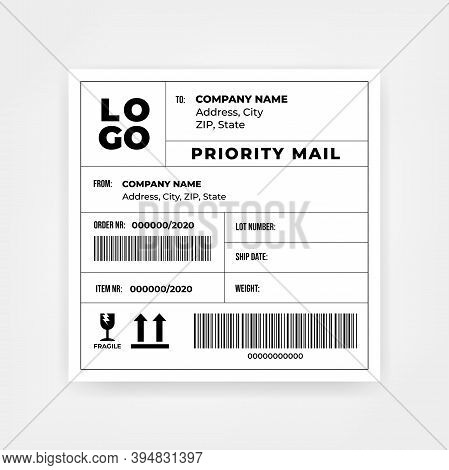 Shipping Barcode Sticker Label Template Vector Illustration.