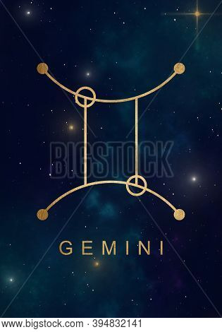 Gemini Zodiac Constellations Sign On Beautiful Starry Sky With Galaxy And Space Behind. Gold Gemini