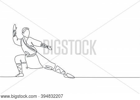 One Single Line Drawing Young Energetic Shaolin Monk Man Exercise Kung Fu Fighting At Temple Vector