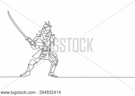 Single Continuous Line Drawing Of Young Strong Samurai Shogun Wearing Traditional Uniform Holding Sw