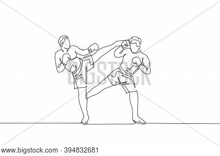 One Single Line Drawing Of Young Energetic Man Kickboxer Practice Sparring Combat With Partner In Bo
