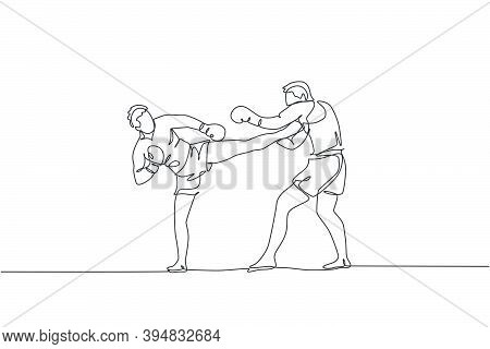 One Continuous Line Drawing Of Two Young Sporty Men Kickboxer Athlete Training Together At Gym Cente