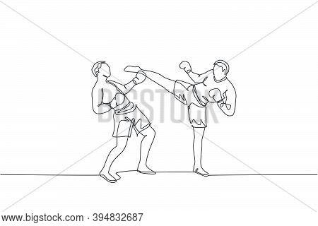 One Single Line Drawing Of Young Energetic Man Kickboxer Practice Sparring Fight With Partner In Box