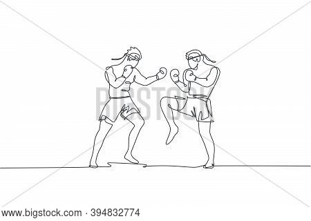 One Single Line Drawing Of Two Young Energetic Muay Thai Fighter Men Sparring Fight At Gym Fitness C
