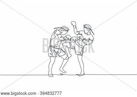 One Continuous Line Drawing Of Two Young Sporty Muay Thai Boxer Men Preparing To Fight Sparring, Due
