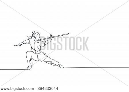 Single Continuous Line Drawing Of Young Woman Wushu Fighter, Kung Fu Master In Uniform Train With Lo