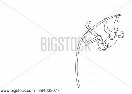 One Single Line Drawing Of Young Energetic Man Exercise Pole Vault To Pass The Bar At Field Vector I