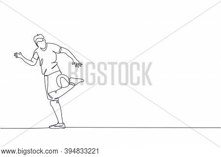 One Single Line Drawing Of Young Happy Man Perform Soccer Freestyle, Keep The Ball With Calf At City