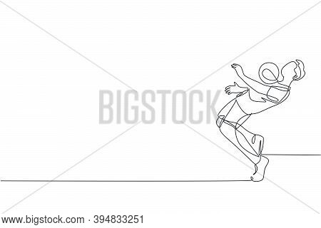 One Single Line Drawing Young Happy Man Perform Soccer Freestyle Hold The Ball With Chest At The Cit