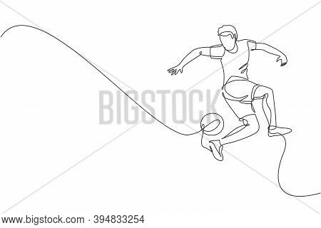 One Continuous Line Drawing Of Young Sporty Man Soccer Freestyler Player Practice To Juggle Ball Wit