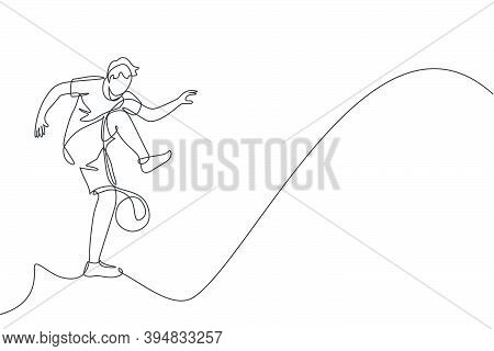 One Continuous Line Drawing Young Sporty Man Soccer Freestyler Player Practice Juggle Ball In The St