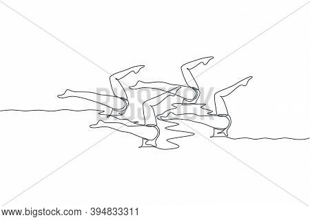 One Single Line Drawing Of Young Beauty Women Synchronized Swimmer Performing Routine Elaborate Legs