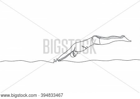 One Single Line Drawing Of Young Sporty Fit Swimmer Jump To Pool To Practice Swimming In Indoor Spor