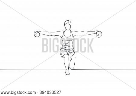 Single Continuous Line Drawing Of Young Sportive Woman Training Lifting Dumbbell Up And Down In Spor