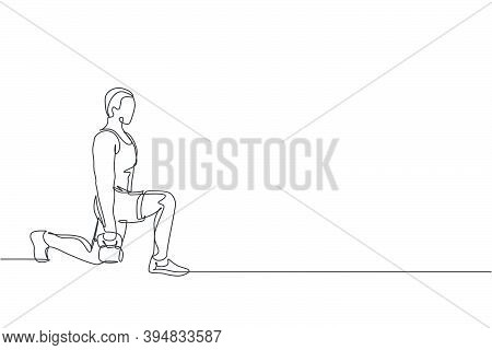 Single Continuous Line Drawing Of Young Sportive Man Training Up And Down With Kettlebell In Sport G