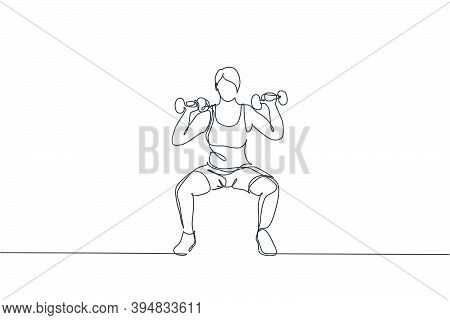 Single Continuous Line Drawing Of Young Sportive Woman Training Lifting Barbells In Sport Gymnasium