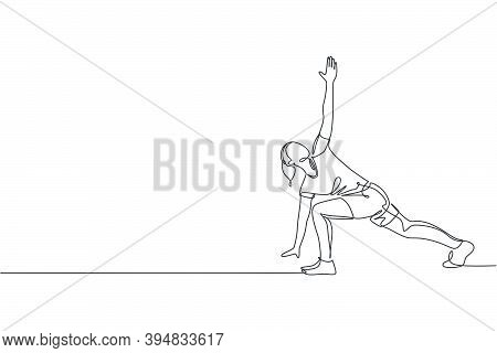 Single Continuous Line Drawing Of Young Sportive Woman Training Side Lunge Windmill Pose In Sport Gy