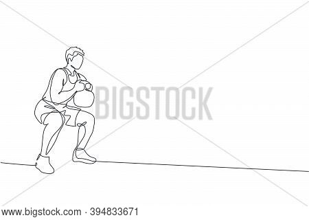 Single Continuous Line Drawing Of Young Sportive Man Training With Kettlebell In Sport Gymnasium Clu