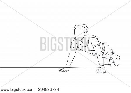 One Continuous Line Drawing Of Young Sporty Man Working Out Push Up In Fitness Gym Club Center. Heal