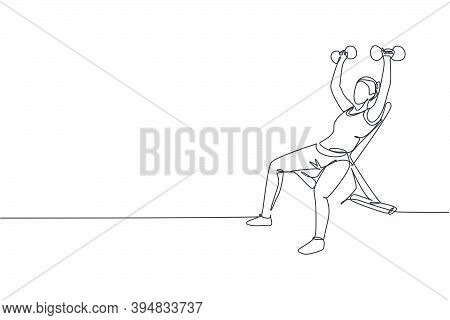Single Continuous Line Drawing Of Young Sportive Man Training Lift Dumbbells On Bench Press In Sport