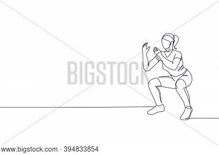 Single Continuous Line Drawing Of Young Happy Woman Exercising Doing Squat Movement In Sport Center