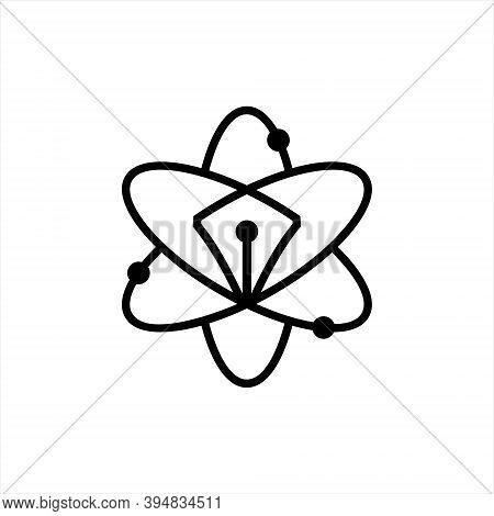 Genius Symbol With Pen Line Art Logo For Writer Or Journalist Template Idea