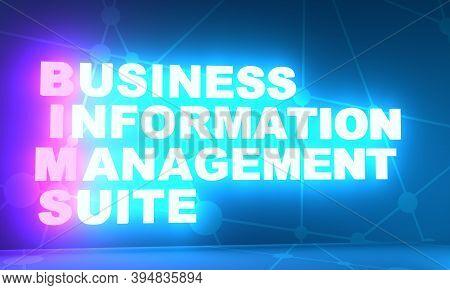 Bims- Business Information Management Suite Acronym. Business Concept Background. 3d Rendering. Neon