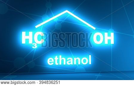 Structural Chemical Formula Of Ethanol Molecule. 3d Rendering. Neon Shine