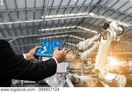 Manager Engineer Check Control Automation Robotic Arms, Industrial Robots, Factory Automation Machin