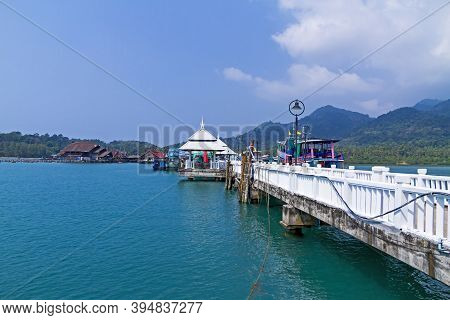 Harbor In Bangbao Bay And Bridge At Koh Chang Thailand. Koh Chang Is Located In The Eastern Gulf Of