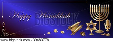 Vector Illustration Of A Holiday Banner. Golden Attributes Of Hannuki On A Blue Background.