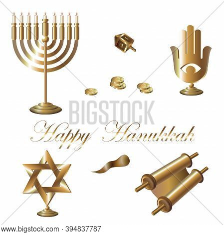 Gold Happy Hanukkah.festive Gold Attributes. Hanukkah Dreidel, Menorah, Hanukkah Geld, Torah, Star O