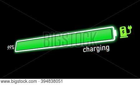 Electric Charging Progress Bar, Electric Vehicle Or Phone Battery Indicator Showing An Increasing Ba