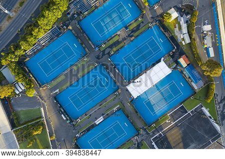 Melbourne, Australia - Nov 15, 2020: Aerial Top Down View Of Tennis Courts In Melbourne Park. It Is