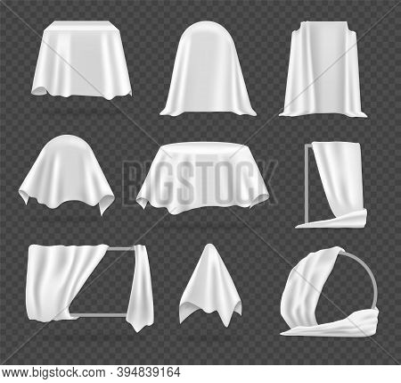 White Textile Cover. Realistic Tablecloth, Protective Coating For Furniture. Fabric Stretched Over M