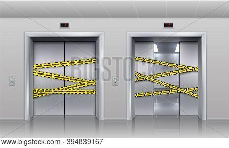 Broken Elevators Closed For Repair Or Maintenance. Realistic Half Opened Metallic Cabin Doors Of Pas