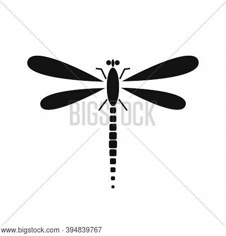 Dragonfly Icon. Black Silhouette Of Dragonfly. Vector Illustration. Dragonfly Icon Isolated.