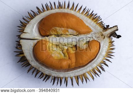 Fruits Of Sabah Borneo Called Durian Dalit And Its Flesh Is In Orange Color. The Durian Dalit For Se